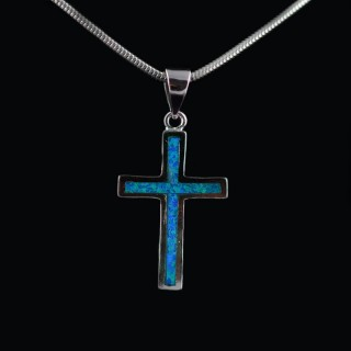 Silver cross with blue Opal